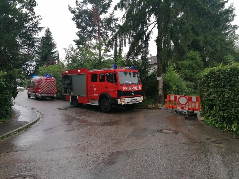 Die Lörracher Feuerwehr ist am Lettenweg auf dem Tüllinger im Einsatz.  | Foto: Kathrin Ganter