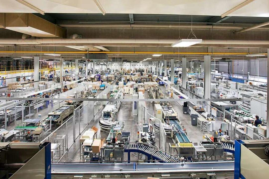 Der Innenraum der Werkhalle im Werk 1 ...wei in Waldkirch genutzten Standorten.  | Foto: Faller Packaging