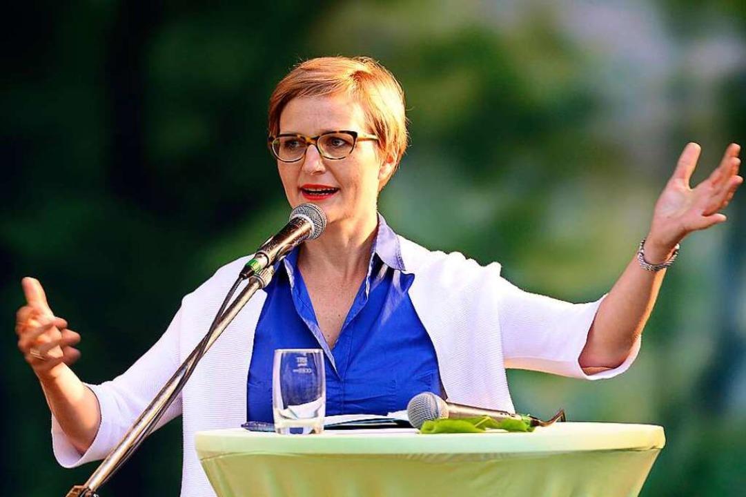 Franziska Brantner, Spitzenkandidatin ... in Baden-Württemberg, bei ihrer Rede.  | Foto: Ingo Schneider