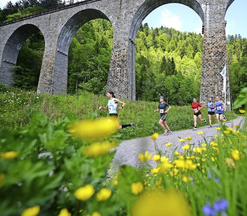 Zwei Strecken in grandioser Natur: X-T...-Läufer am Viadukt der Ravennaschlucht    Foto: Patrick Seeger