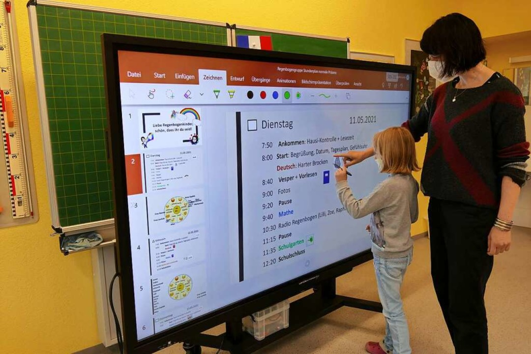 Unterricht an der digitalen Tafel    Foto: Silke Kohlmann