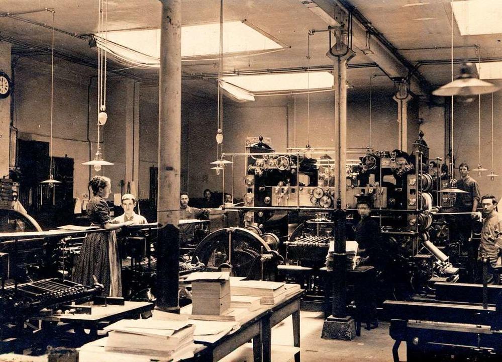 Bis 1925 standen im Maschinensaal bei ...beiden 16-seitigen Rotationsmaschinen.  | Foto: bz