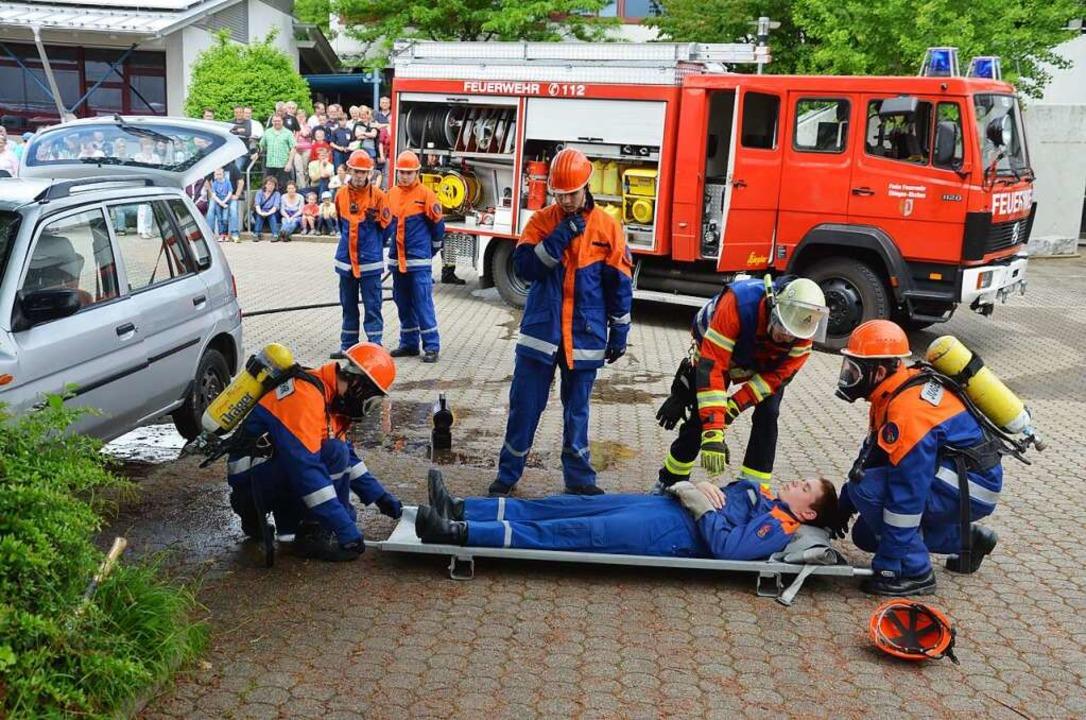 Spielerisch lernt der Feuerwehrnachwuc...stfall erforderlich ist (Archivfoto).   | Foto: Marco Schopferer