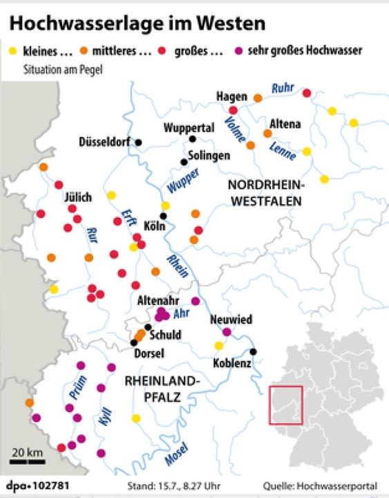 Viele Flüsse in Rheinland-Pfalz und No... von den schweren Unwettern betroffen.    Foto: dpa-infografik GmbH (dpa)