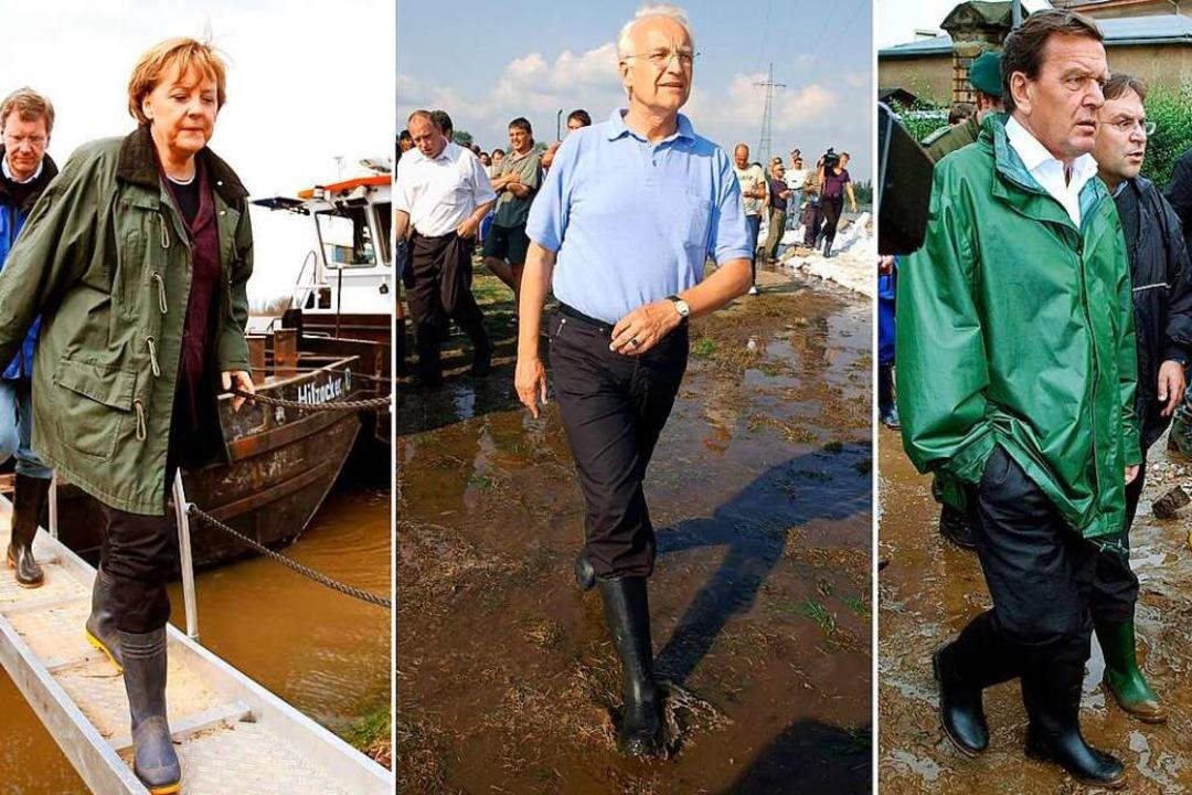 Politiker in Gummistiefeln gab es scho...it zur Profilierung bietet es dennoch.    Foto: Lux; Grubitzsch; Endig (dpa)