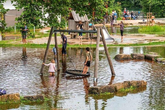 Zwei große Rückhaltebecken in Südbaden halfen dabei, Wassermengen abzufangen