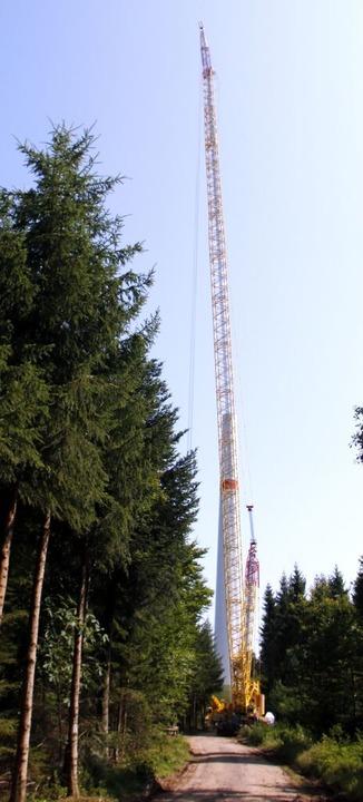 160 Meter ragt der Kran auf dem Langenhard in die Höhe.  | Foto: Heidi Fößel