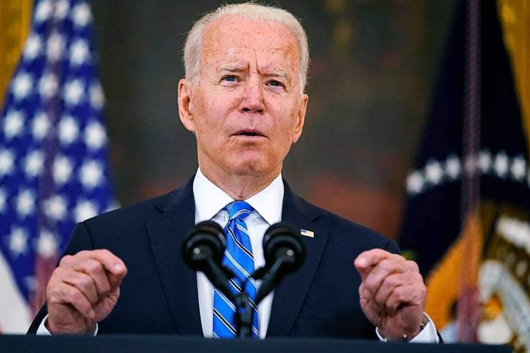 US-Präsident Biden bei einer Pressekon...g Room des Weißen Hauses (Archivbild).  | Foto: Andrew Harnik (dpa)