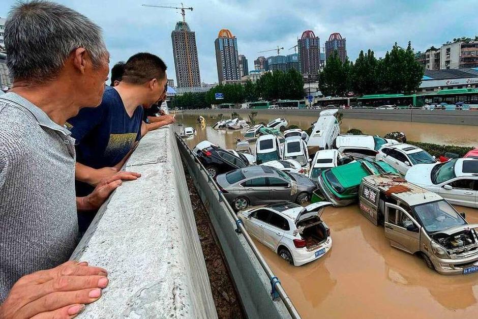 Hochwasserkatastrophe in der chinesischen Provinz Henan. (Foto: STR (AFP))