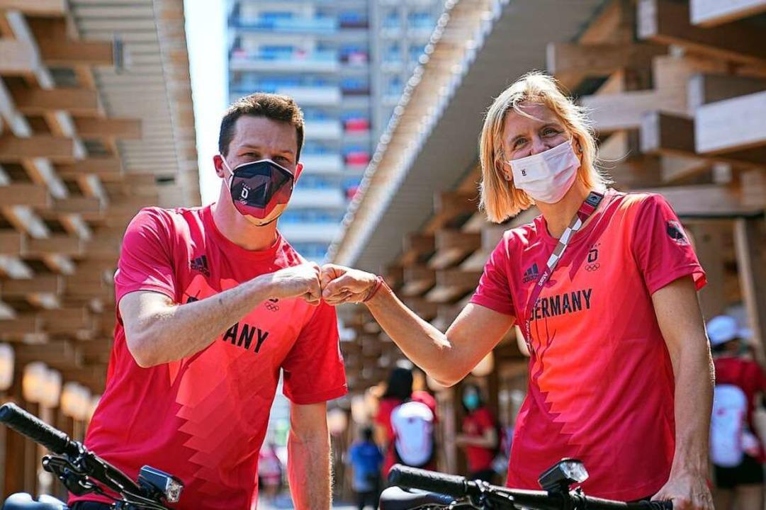 Wasserspringer Patrick Hausding (l) un...ier der Olympischen Spiele 2020 Tokio.    Foto: Michael Kappeler (dpa)