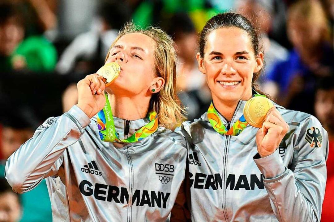 Glücksgefühle am Traumstrand von Rio: ...en 2016 mit dem größten ihrer Erfolge.    Foto: LEON NEAL
