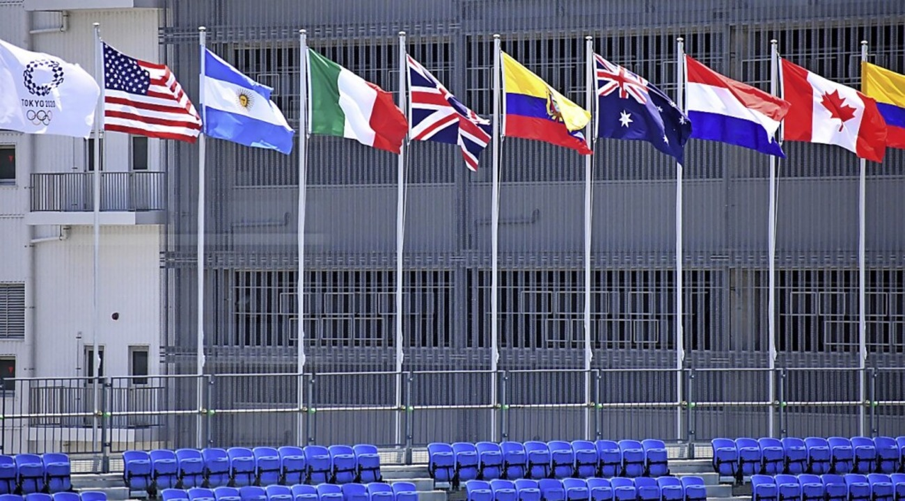 Internationale Fahnen wehen im Ariake Urban Sports Park in Tokio.  | Foto: Ramiro Agustin Vargas Tabares (dpa)