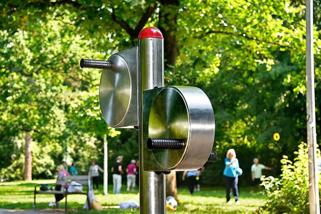 Durchaus futuristisch muten einige der Edelstahl-Fitnessgeräte an.  | Foto: Thomas Kunz