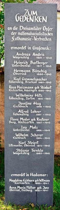 Eine Stele gibt den 15 Euthanasie-Opfern aus dem Dreisamtal einen Namen.  | Foto: Gerhard Lück