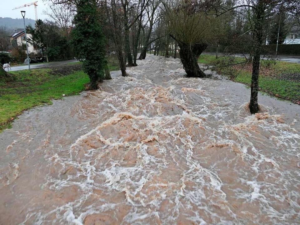 Das Hochwasser vom Januar 2021 am Neumagen in Staufen    Foto: Hans-Peter Müller