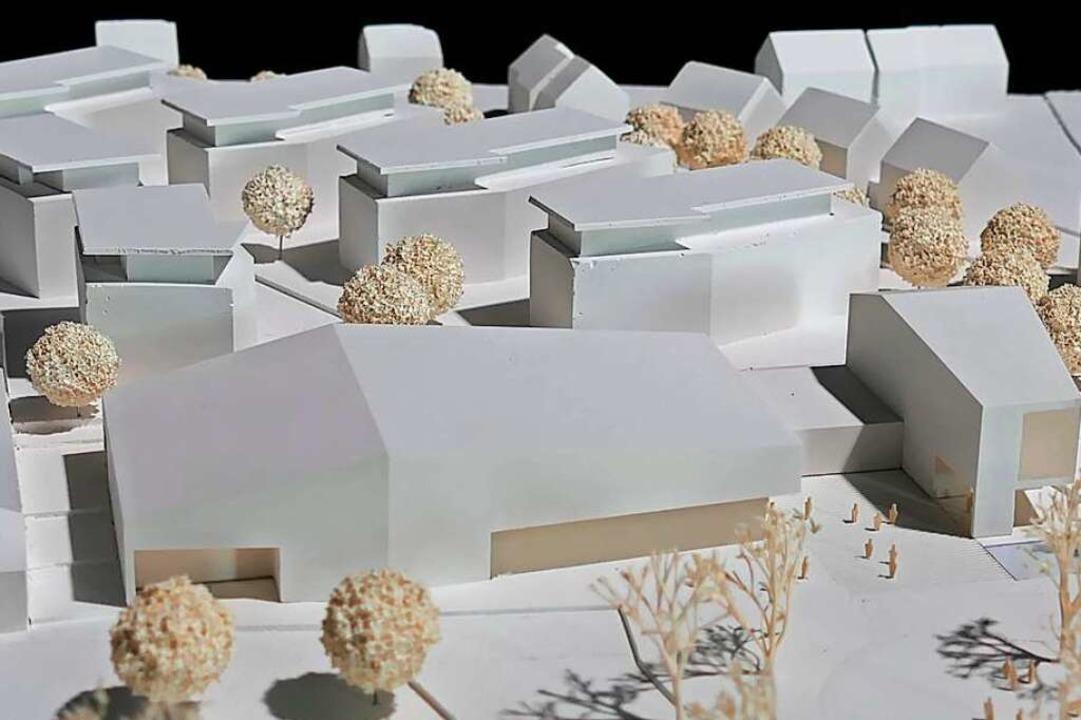 Das Modell mit Bürgerhaus und Mediathek im Vordergrund  | Foto: Hans-Peter Müller