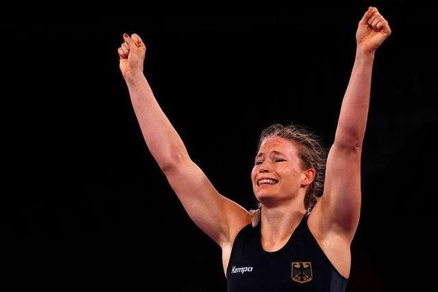 Aline Rotter-Focken holt die erste olympische Medaille für Deutschland im Frauenringen