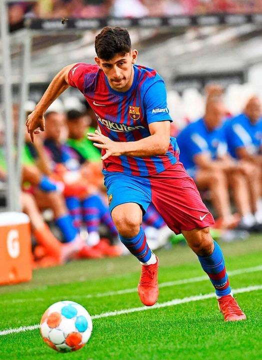 Das Testspiel in Stuttgart gewann Barcelona (hier Yusuf Demir) mit 3:0.    Foto: THOMAS KIENZLE (AFP)