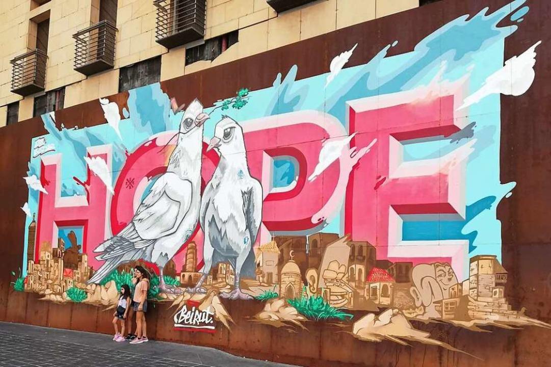 Hoffnung auf Frieden im zerrissenen La...in Kunstwerk am Beiruter Märtyrerplatz    Foto: Cedric Rehman