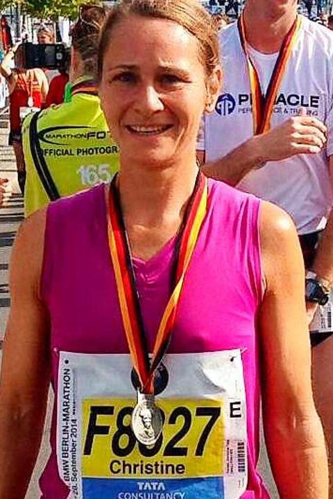 Christine Tunkel beim Berlin-Marathon 2014  | Foto: Ulrike Le Bras