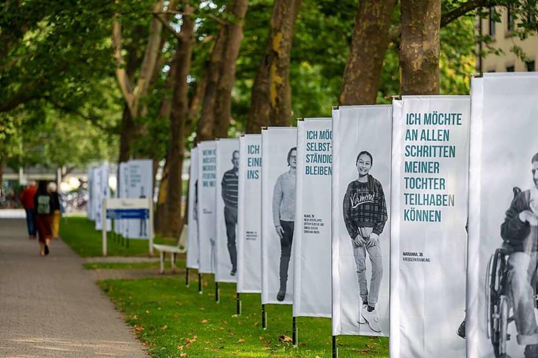 Wünsche und Träume von Patientinnen un...ienten sind im Klinikpark ausgestellt.  | Foto: Patrick Seeger/Stadt Freiburg