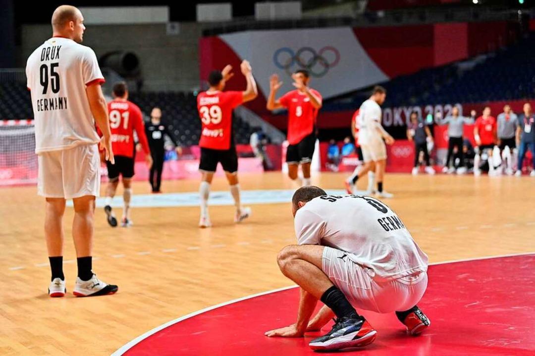 Für die Handballer war das Viertelfinale gegen Ägypten Endstation.    Foto: FABRICE COFFRINI (AFP)