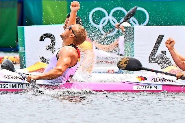 Olympia-Gold im pinken Boot für den deutschen Kajak-Vierer