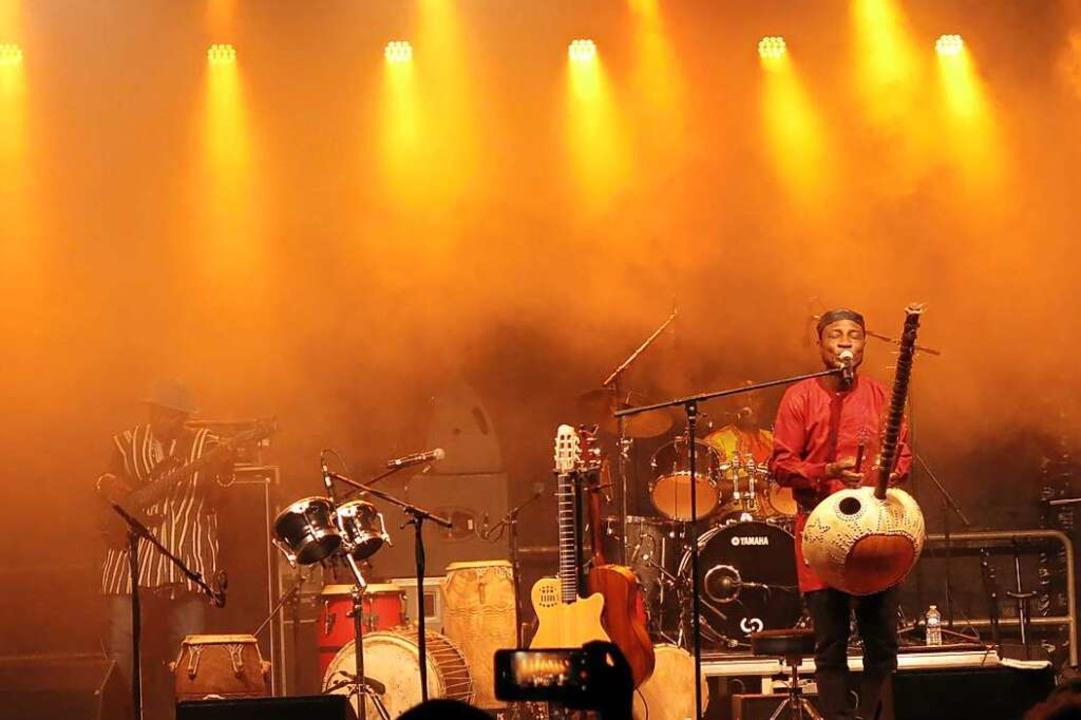 Adijiri Odametey aus Ghana an der Stegharfe (rechts).    Foto: Georg Voß