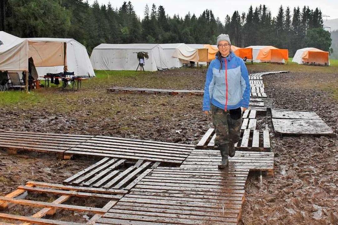Ihr Zeltlager in Breitnau richtet  die...as Gelände in Matschkuhle verwandelt.     Foto: Thomas Biniossek