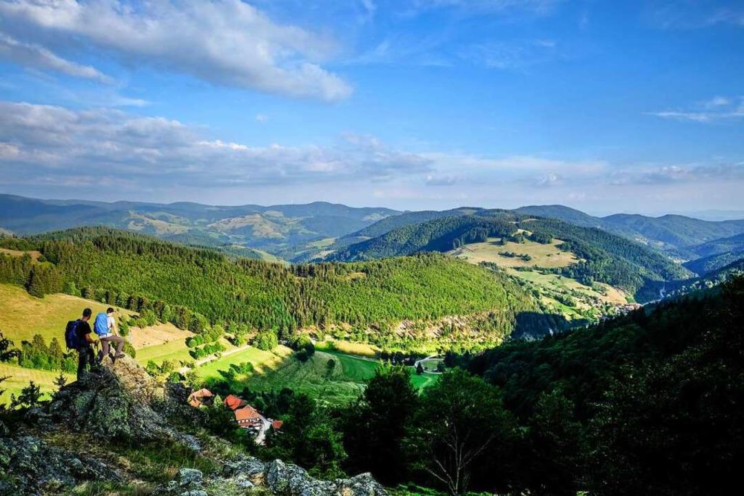 Vom Heideckfelsen aus kann man hinunte...und weit hinaus ins Wiesental blicken.    Foto: Birgit-Cathrin Duval