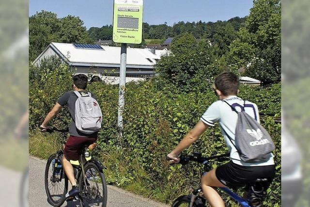 Die Tafel am Murger Weg zählt ab sofort die Fahrradfahrer