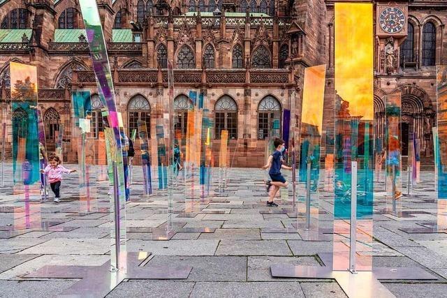 Kunst-Installation und Münster-Lichtshow in Straßburg