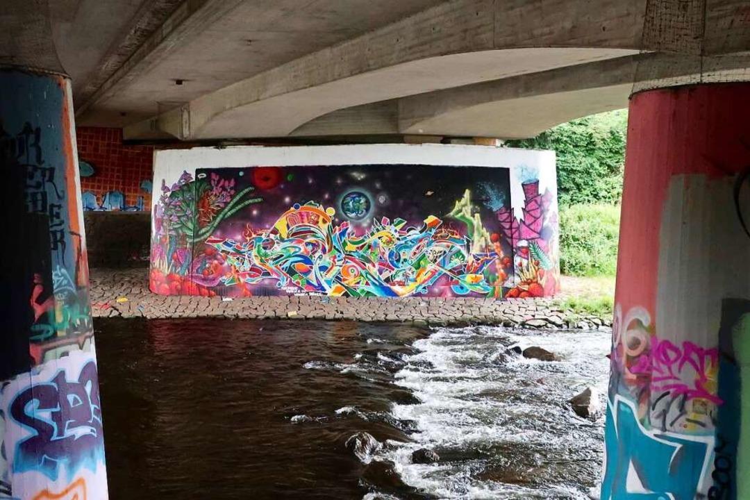 Farbenfrohe Gestaltung unter der  Hermann-Zens-Brücke in Betzenhausen    Foto: Lola Galli