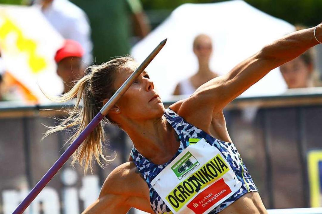 Das Ziel fest im Blick: Nikola  Ogrodn...  warf als einzige Frau über 60 Meter.  | Foto: Peter Aukthun-Goermer