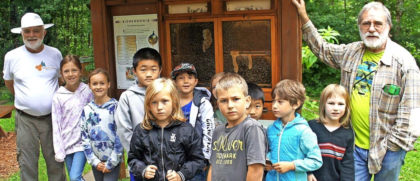 Zehn  Jungen und Mädchen  waren  gespa...um die Honig- und Wildbienen erzählen.  | Foto: Reinhard Herbrig