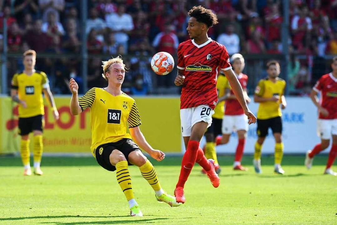 Gelungenes Bundesliga-Debüt für SC-Eigengewächs Kevin Schade    Foto: THOMAS KIENZLE (AFP)
