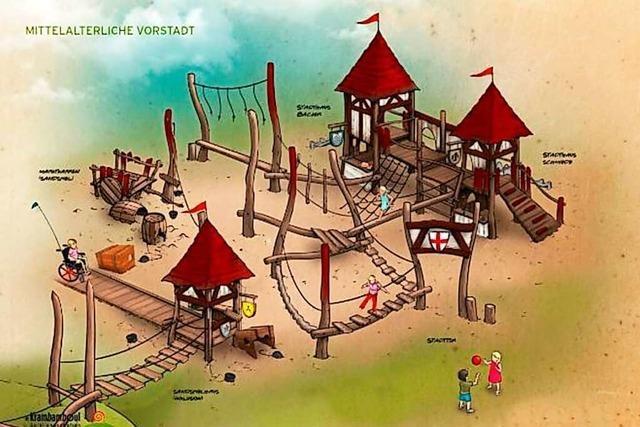 Der Spielplatz im Stadtgarten wird neu gestaltet – als Mittelalterstadt