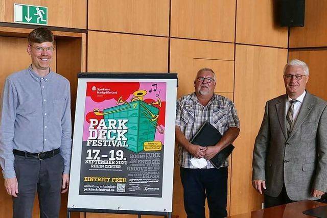 Das Parkdeck des Rheincenters wird zum Spielort für das Bläserfestival