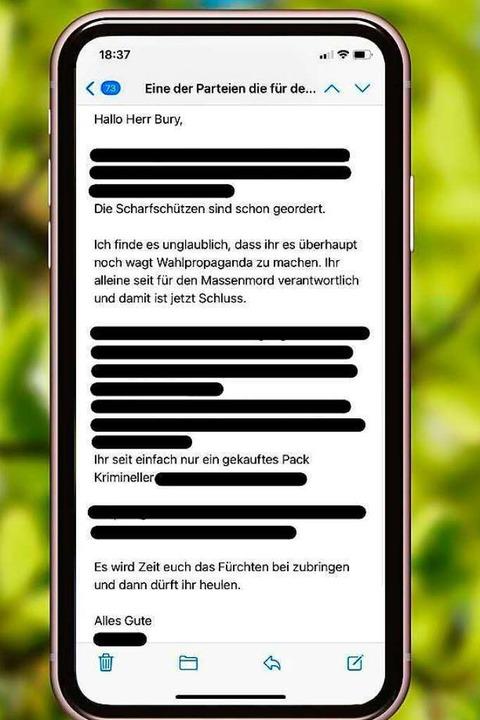 Screenshot der Mail an Yannick Bury    Foto: Facebookscreenshot