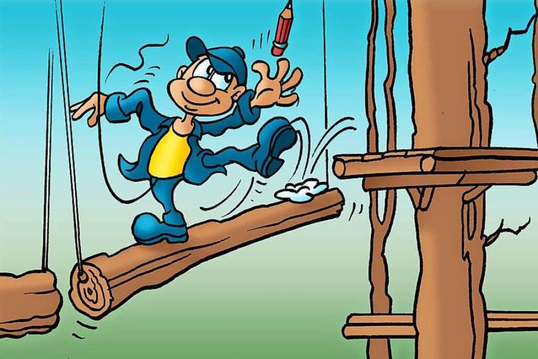 B. Zetti erklimmt schwindelfreie Höhen mit Bravour.    Foto: Zeichnung: Ferdinando Terelle