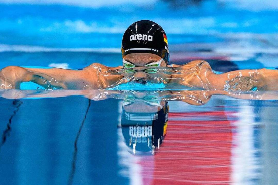 Gold-Gewinner: Schwimmer Taliso Engel    Foto: Joel Marklund (dpa)
