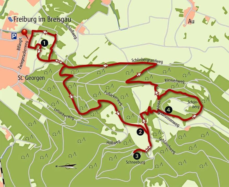 Die Karte zur Wanderstrecke am Schönbe...en und ab in den Wanderrucksack damit!  | Foto: Thorsten David
