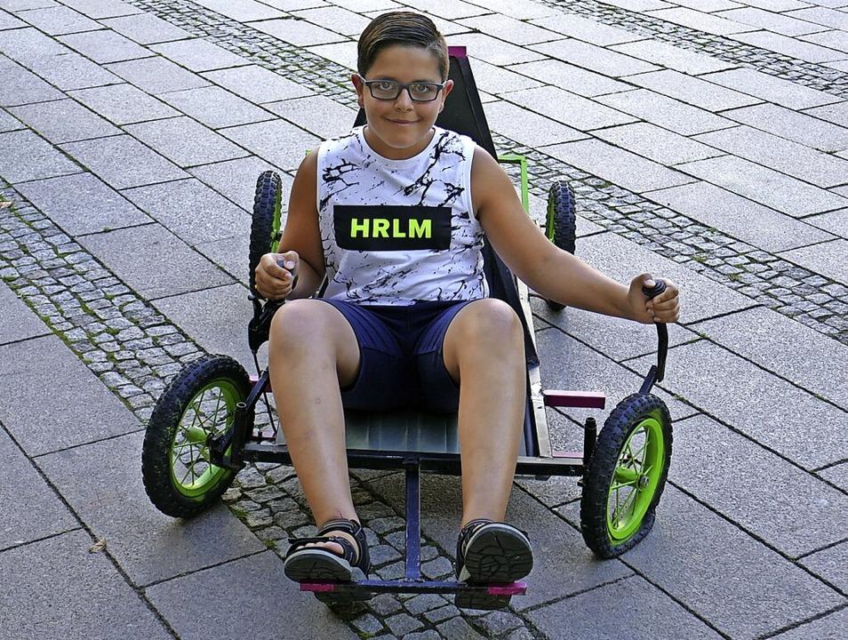Im Schweißkurs bauten Luis Zimmermann ...m Kids Day sind Probefahrten möglich.     Foto: Michael Sträter