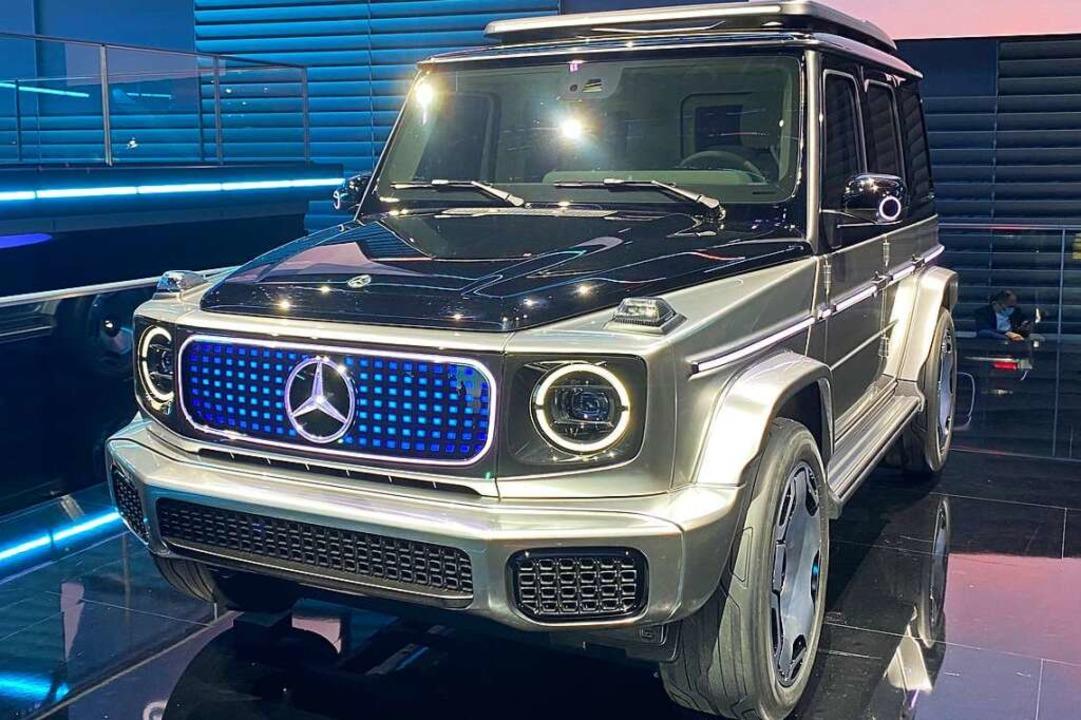 Auch als E-Auto-Studie EQG ist die G-Klasse von Mercedes auf Anhieb zu erkennen.  | Foto: Thomas Geiger (dpa)