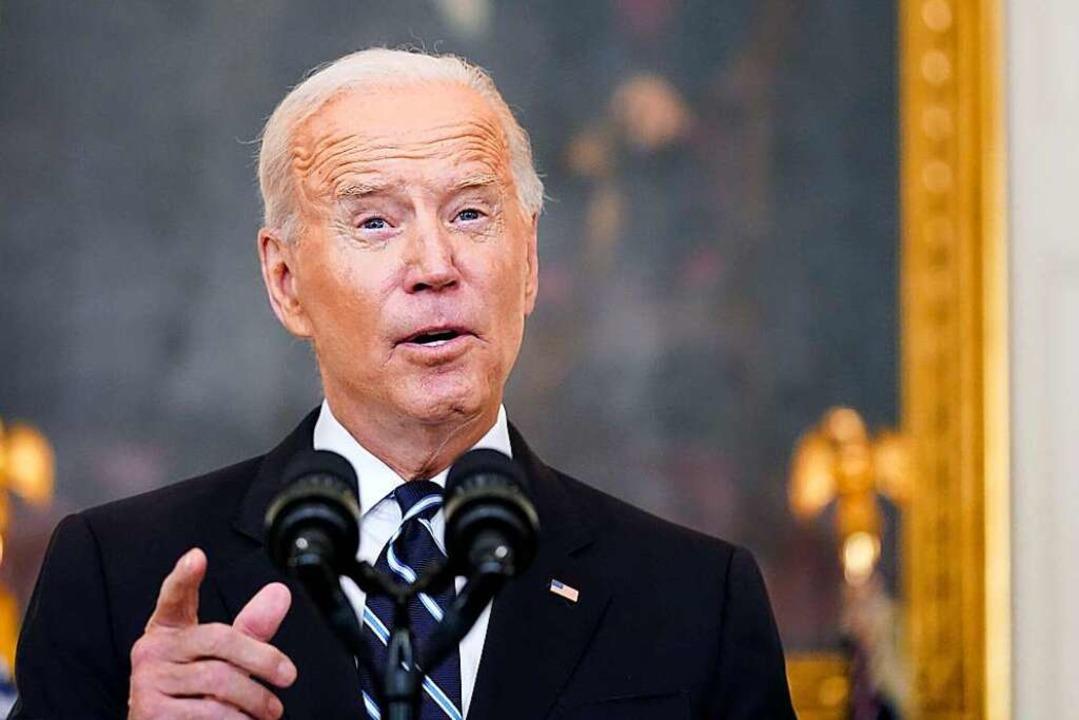 """Joe Biden: """"Wir werden geimpfte ...r ungeimpften Kollegen schützen""""    Foto: Andrew Harnik (dpa)"""