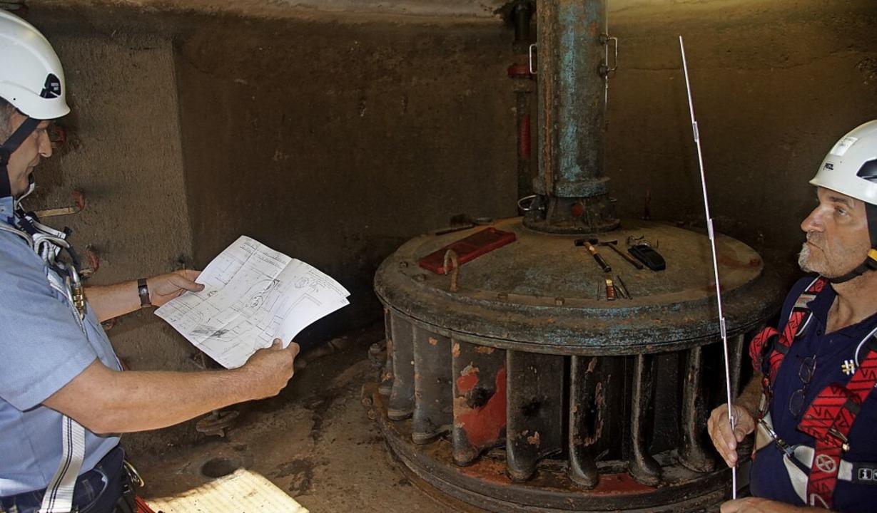 Nur zwei Wochen im Jahr ist die Turbin...rkraftanlage im Rheinhausen  zu sehen.    Foto: Ilona Huege