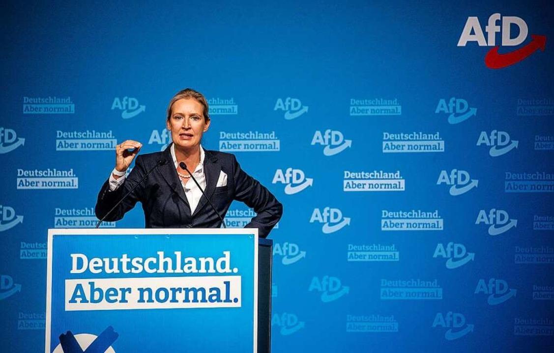 Alice Weidel, Landesvorsitzende der Af... Halle der Messe zu Parteimitgliedern.  | Foto: Christoph Schmidt (dpa)