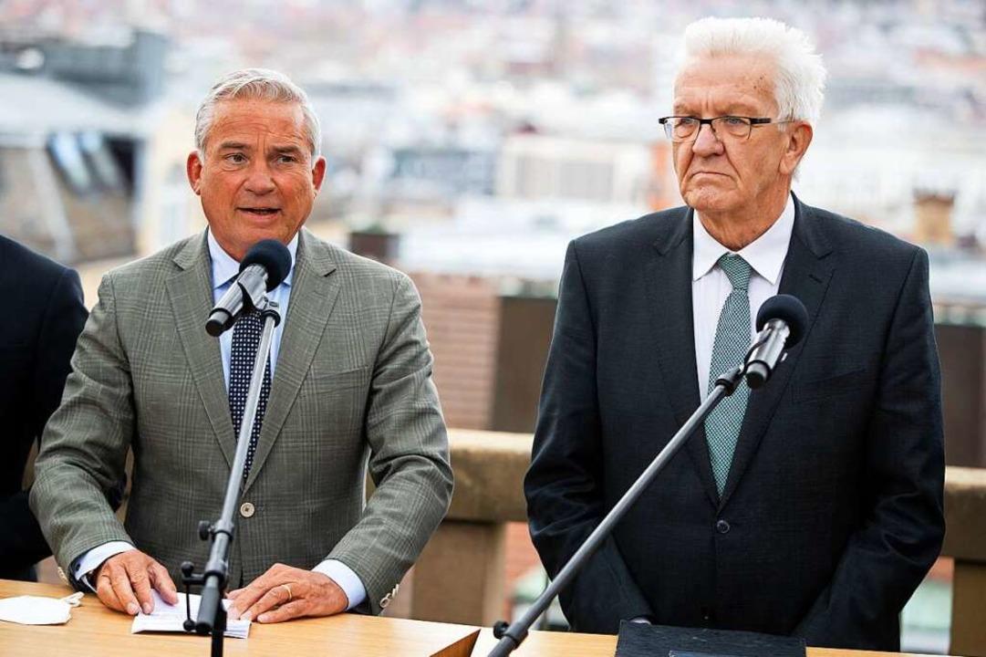 Die Spitzen der Koalition aus Grünen u...gabend über den Haushalt (Archivbild).    Foto: Christoph Schmidt (dpa)