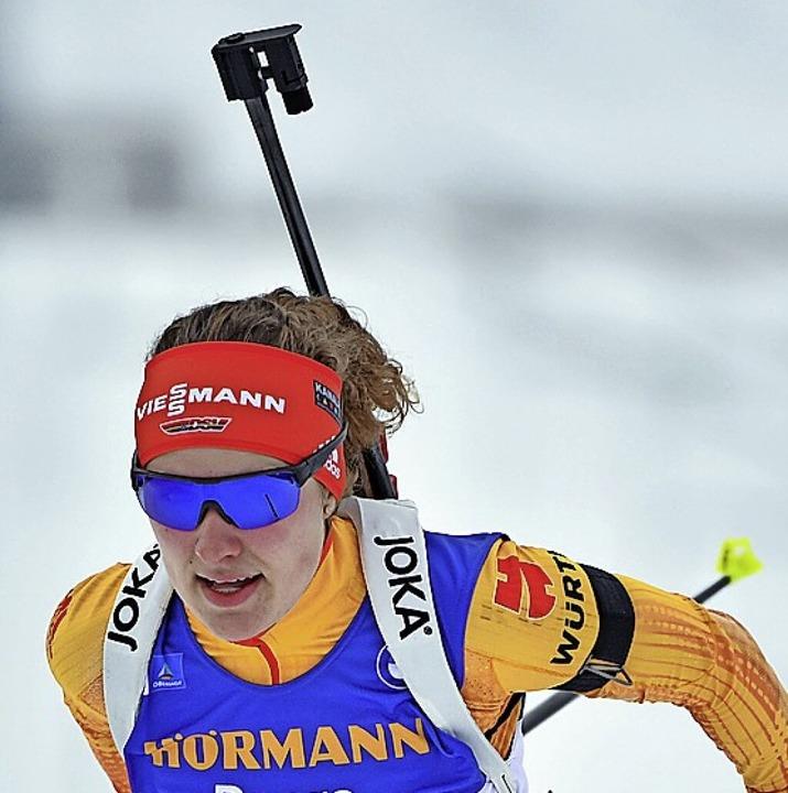 Deutsche Sprintmeisterin: Biathletin Janina Hettich  | Foto: Martin Schutt (dpa)