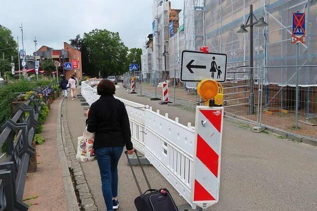 Baustelle am Lörracher Hauptbahnhof: Betrieb läuft bisher reibungslos
